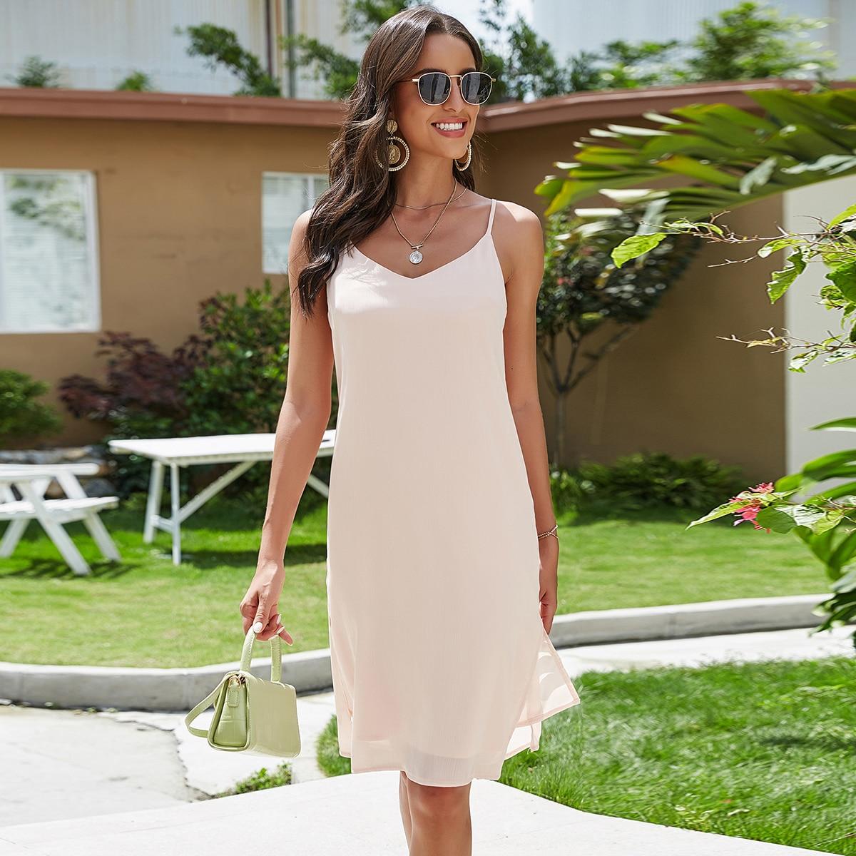 Нежний Розовый Разрез Одноцветный Повседневный Платья фото