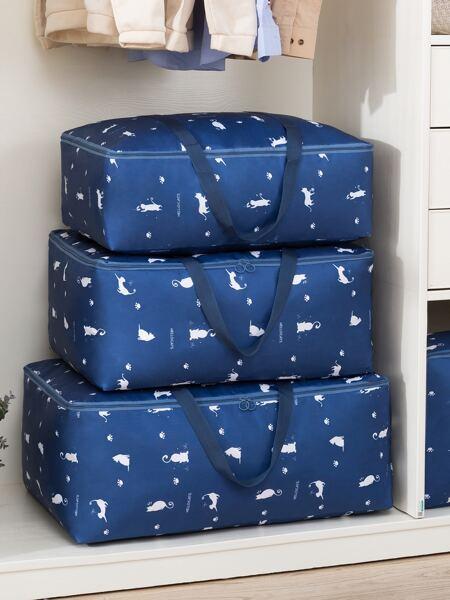 1pc Cat Print Quilt Storage Bag