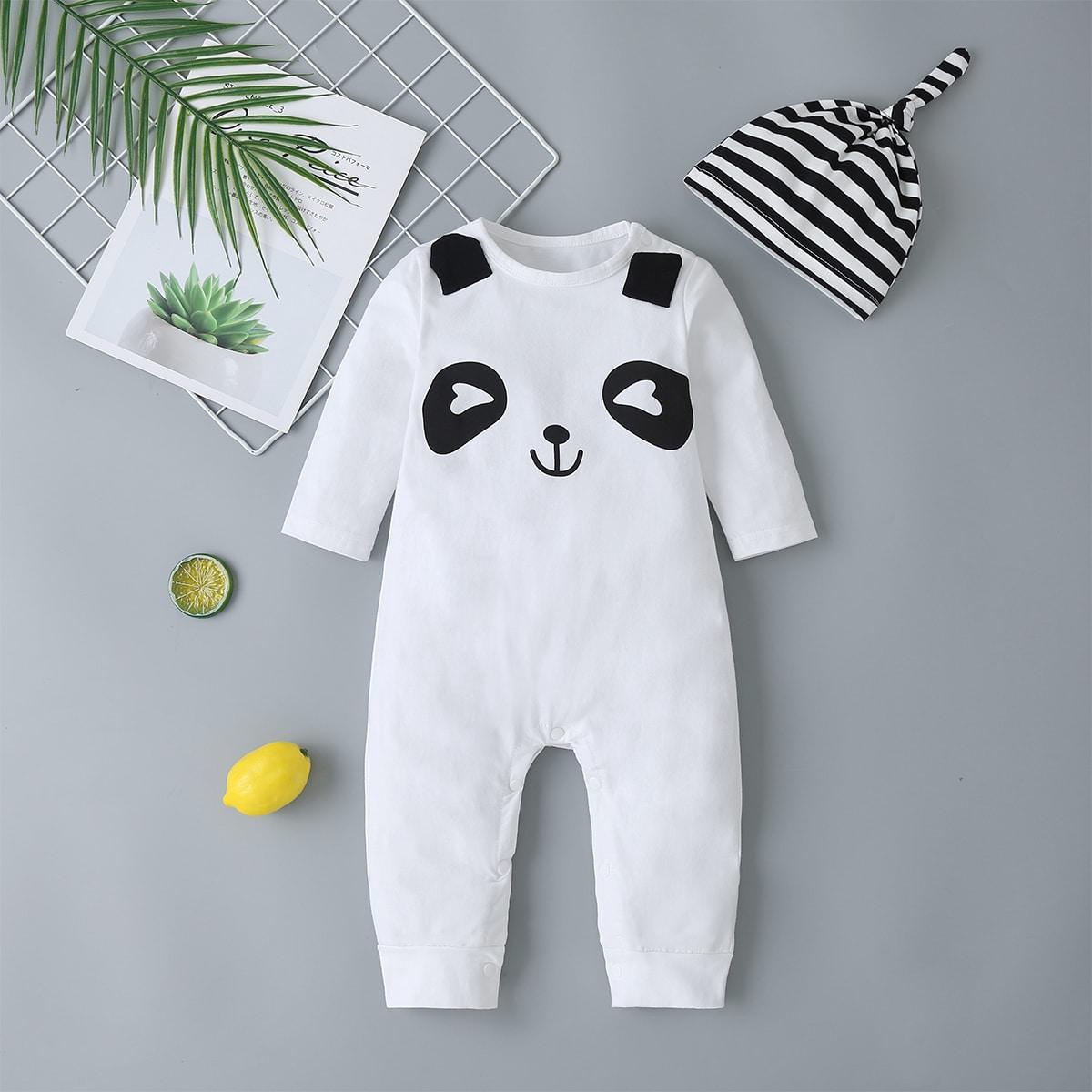 Комбинезон с пуговицами и принтом панды и шляпа для младенца от SHEIN