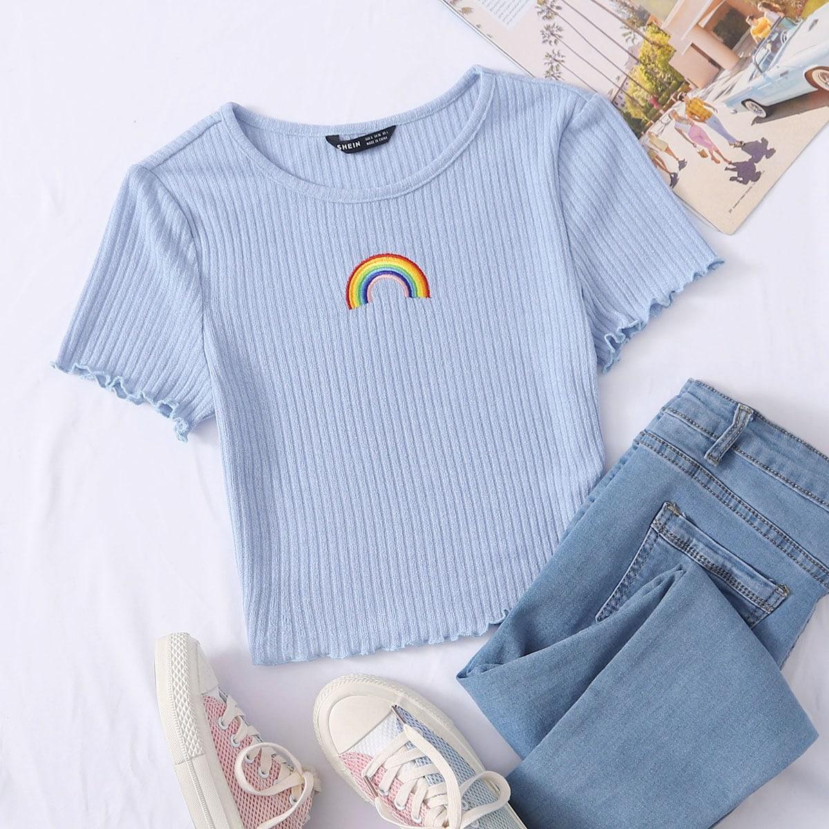 Трикотажная футболка с вышивкой фото
