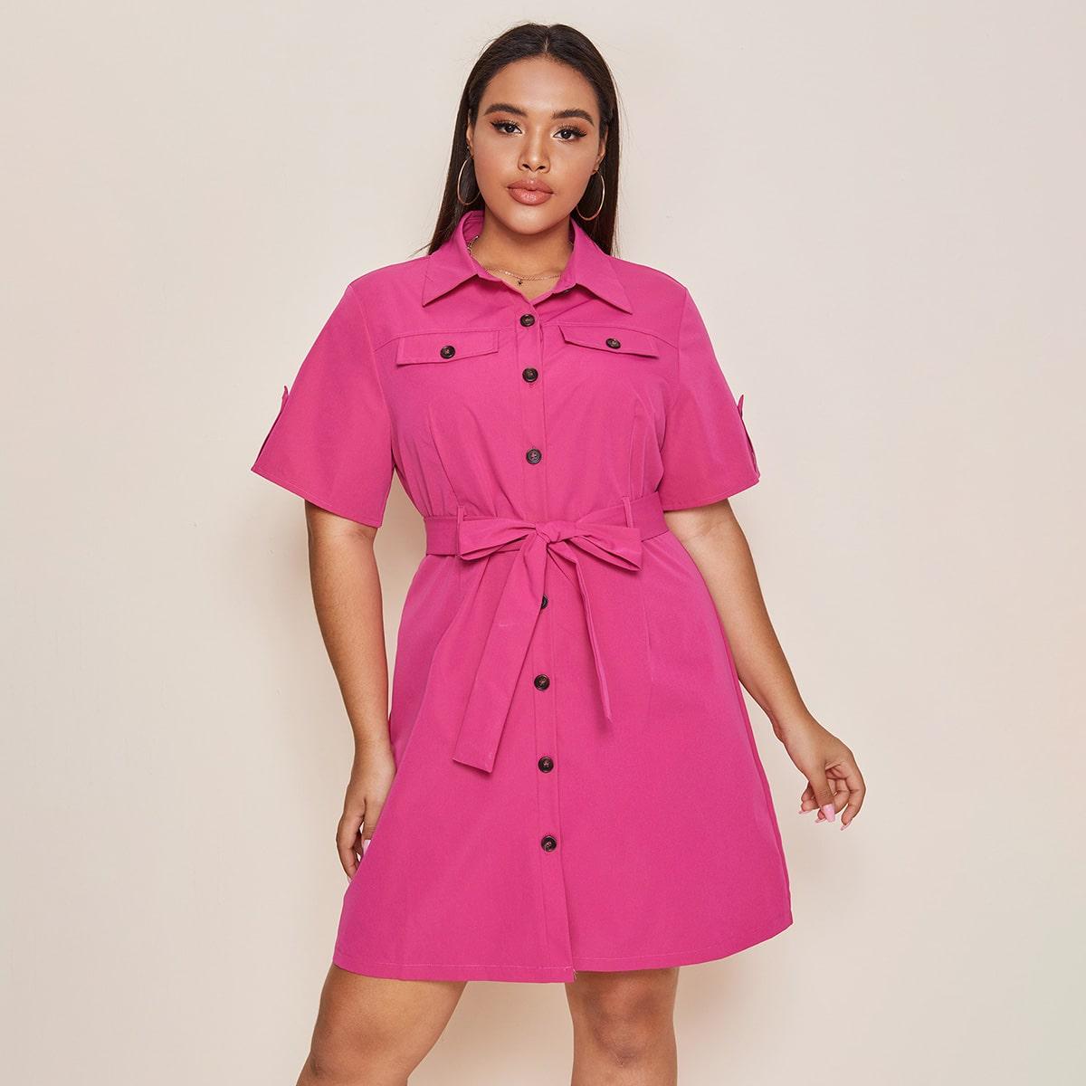 Ярко-розовый с поясом Одноцветный Повседневный Платья размер плюс фото