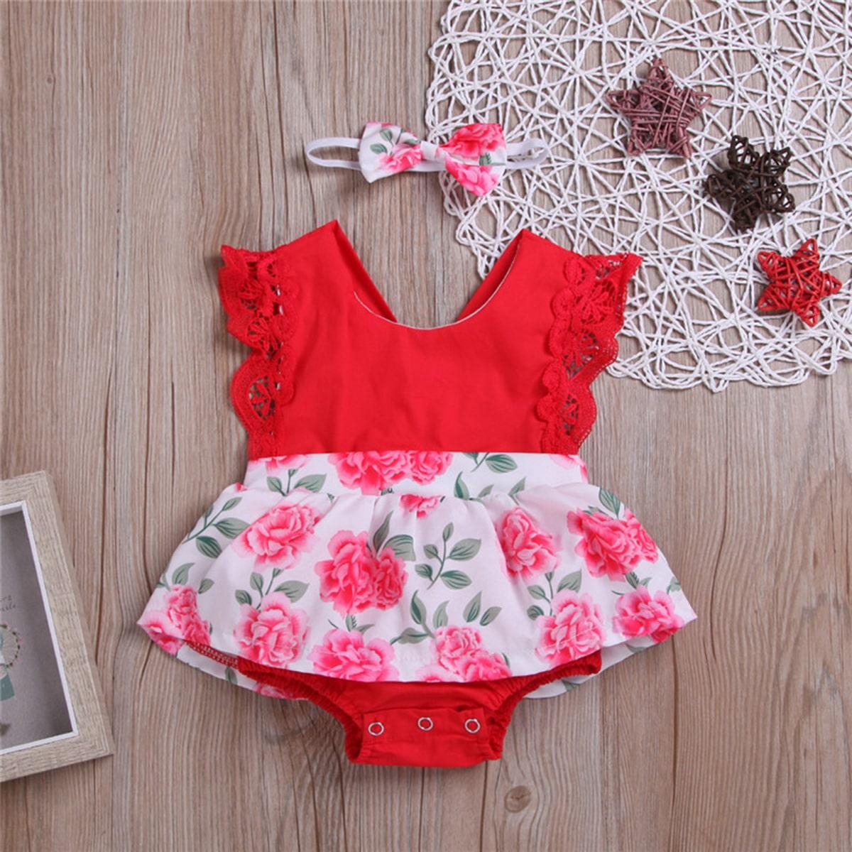 Многоцветный Контрастные кружева Со цветочками милый Боди для малышей от SHEIN