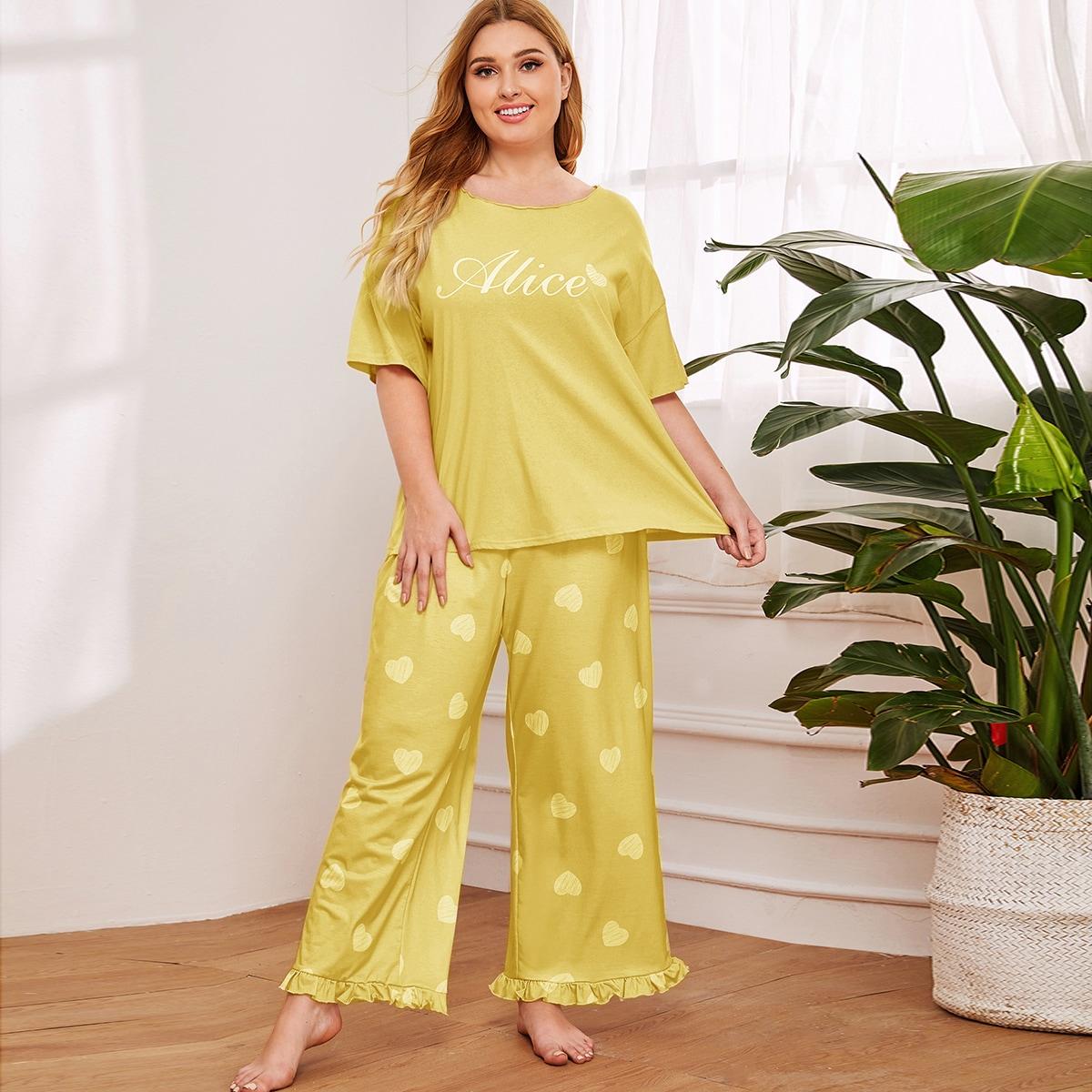 Пижама размера плюс с сердечным и текстовым принтом фото