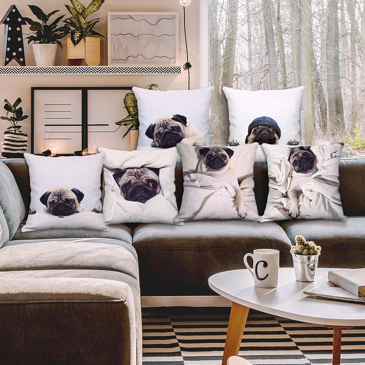 Чехол для подушки с принтом собак 1шт