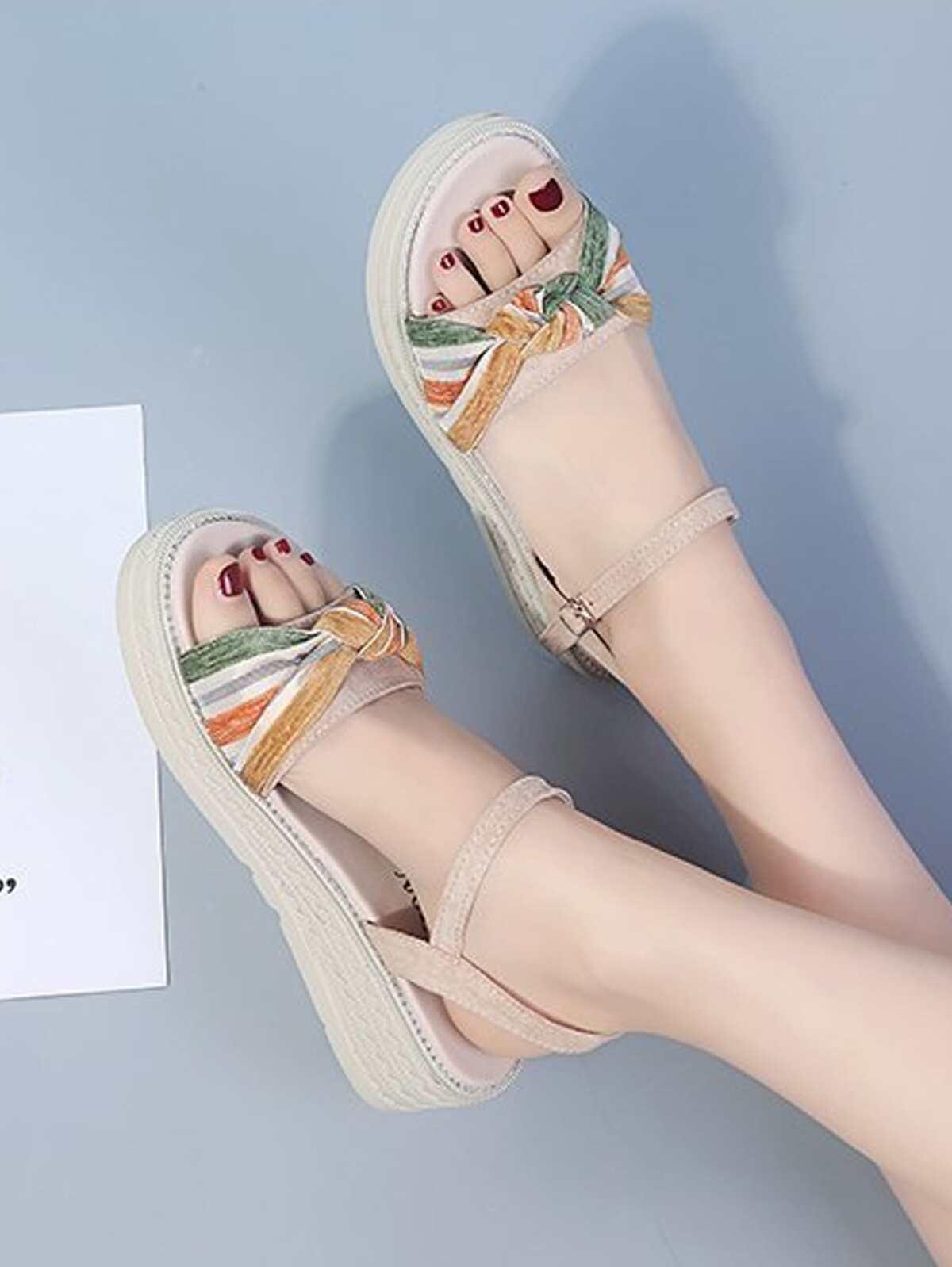 Striped Knot Flatform Sandals