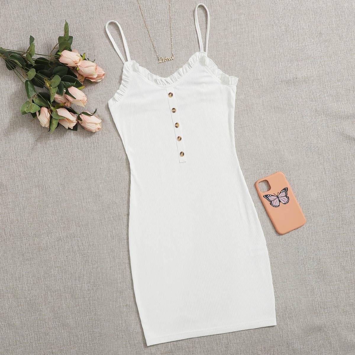 Платье на бретелях с пуговицами фото