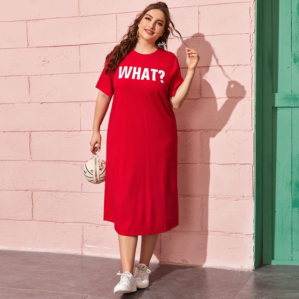 Платье-футболка размера плюс с текстовым принтом фото