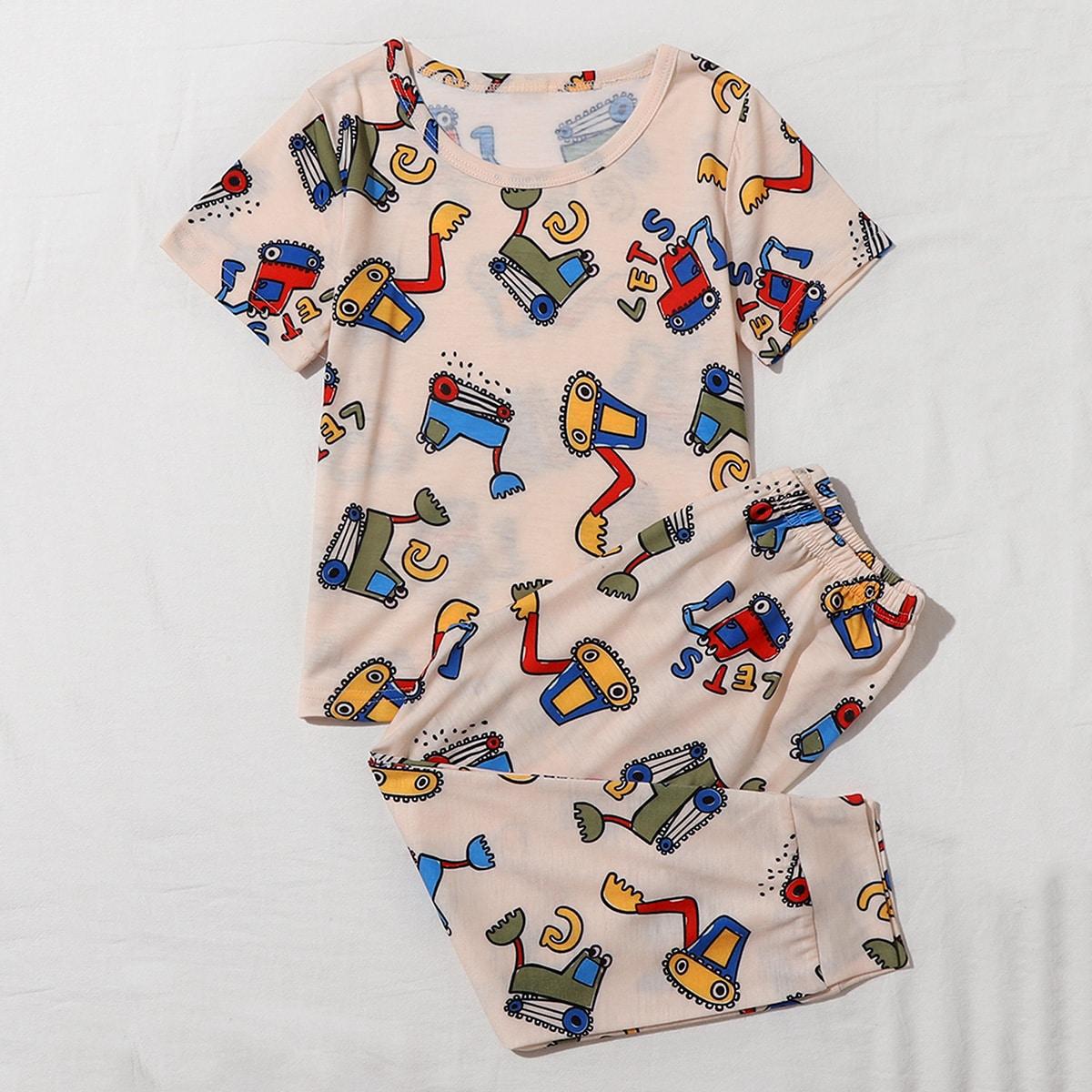 многоцветный Мультяшный принт милый Домашняя одежда для мальчиков от SHEIN
