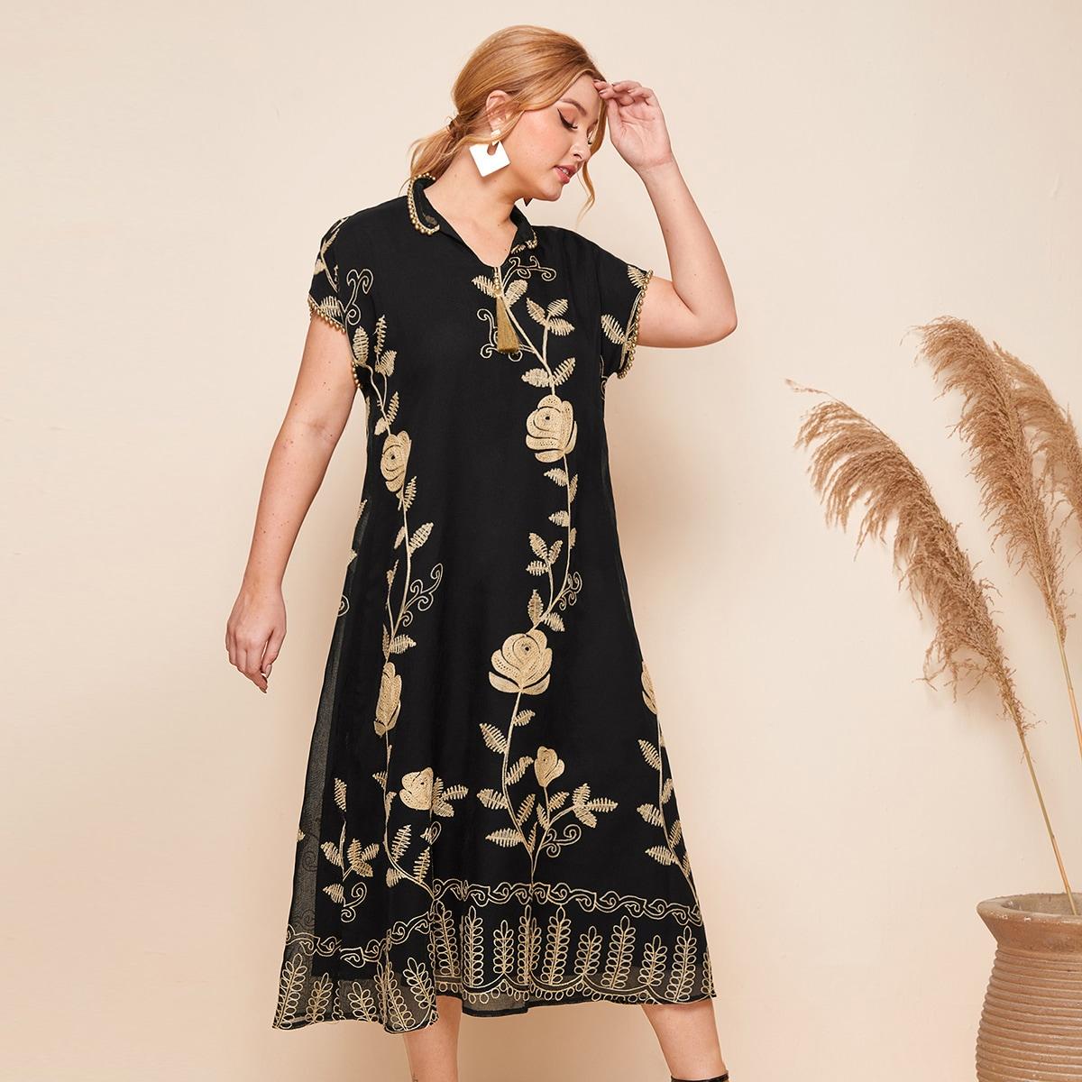 Чёрные Нитка жемчуга Цветочный Элегантный Платья размер плюс фото