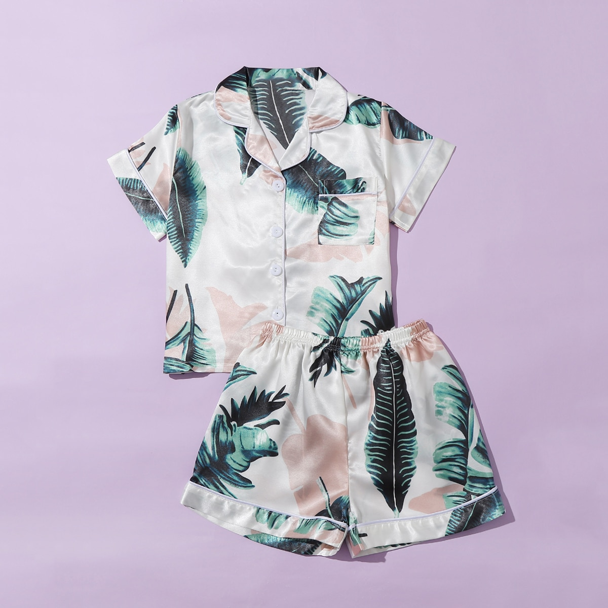 Атласная пижама с тропическим принтом для девочек фото