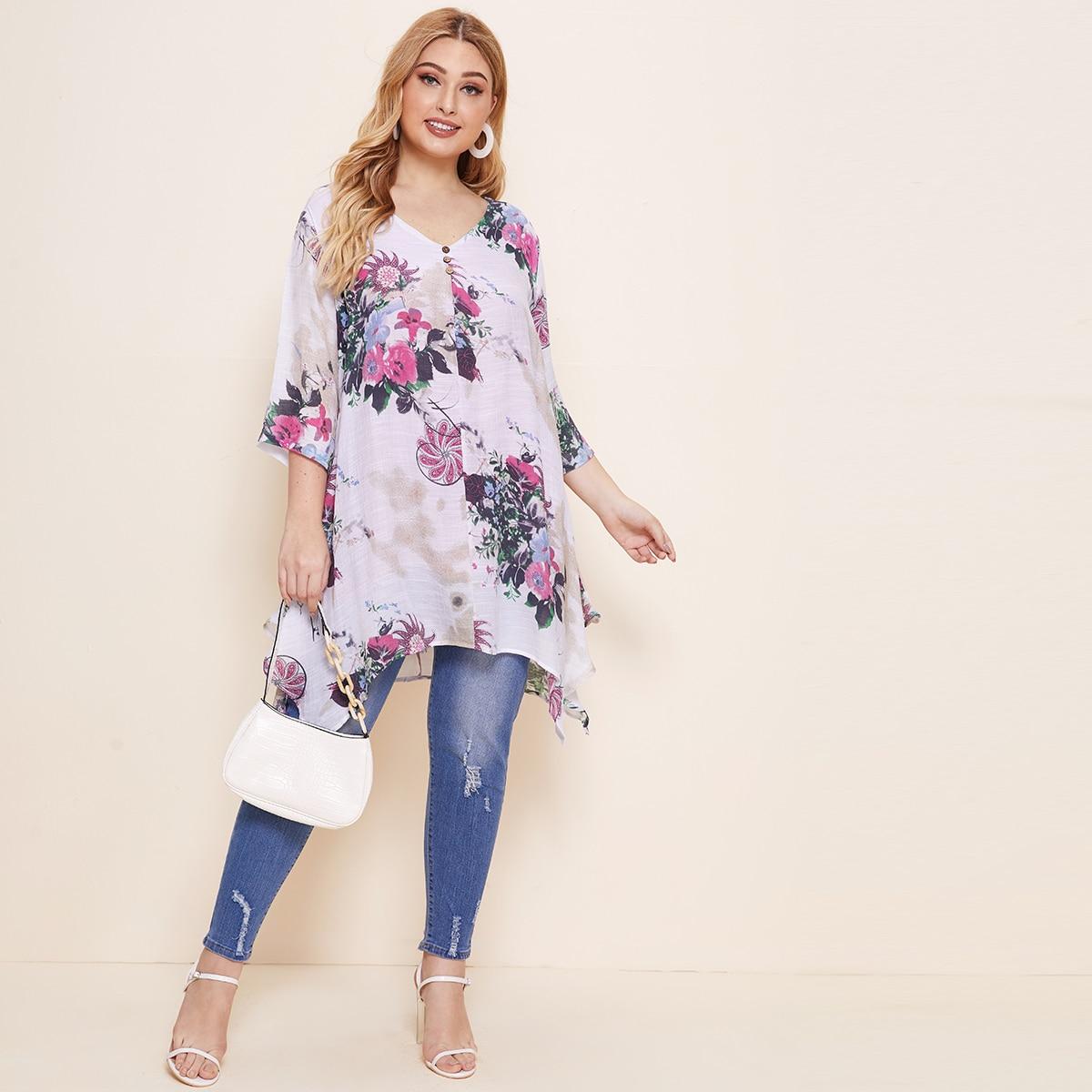 Асимметричная длинная блузка размера плюс с цветочным принтом