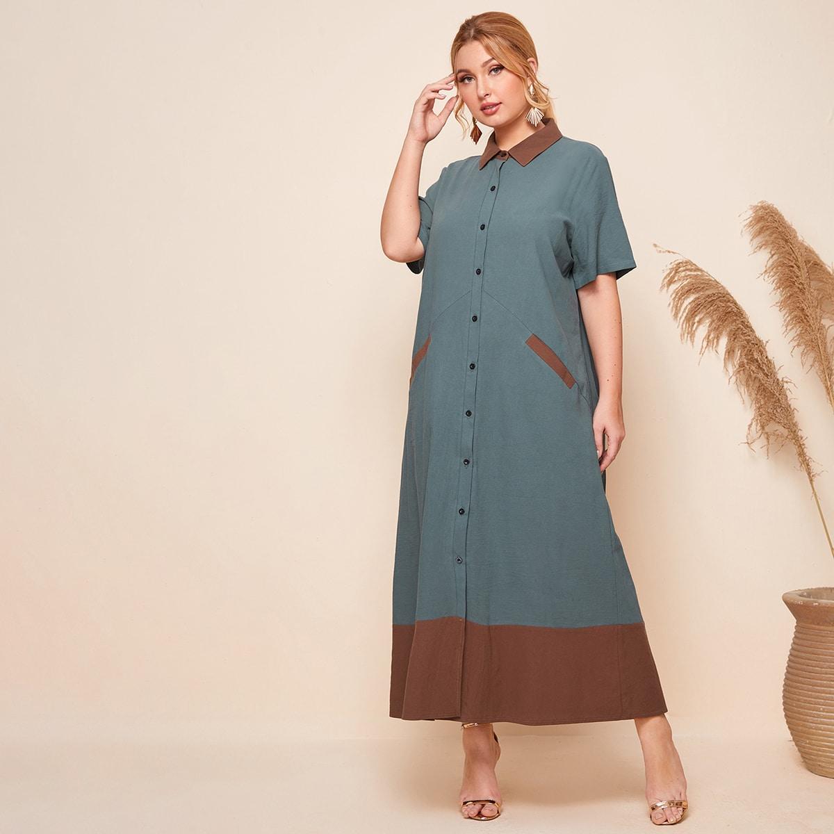 SHEIN / Zweifarbiges Hemdkleid mit Knöpfen