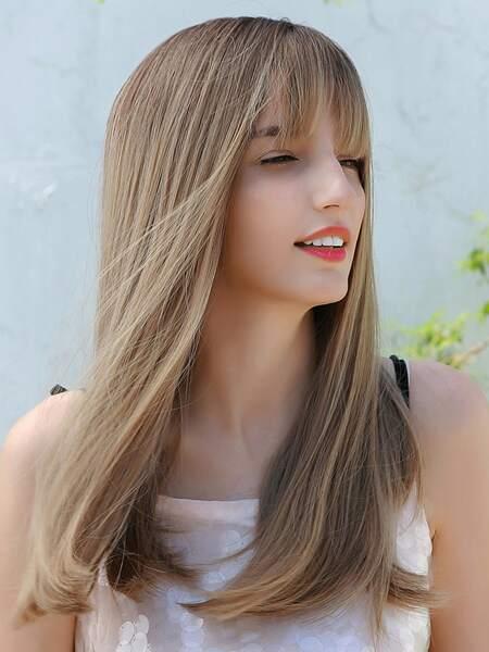 Natural Long Straight Hair Wig With Bang