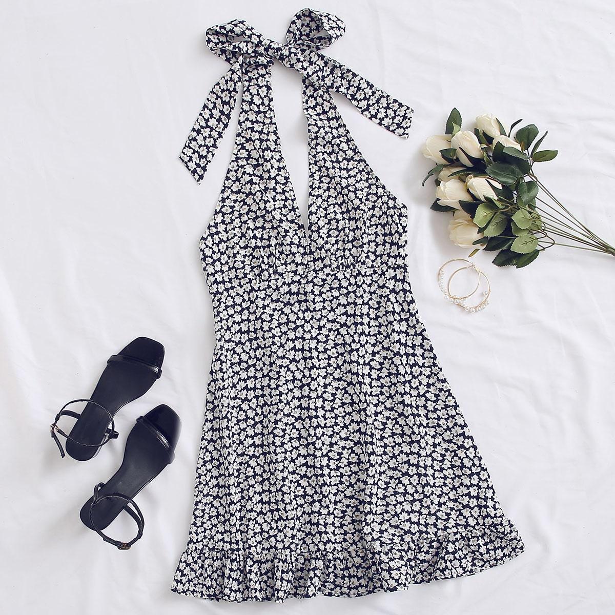 Платье с цветочным принтом и узлом фото