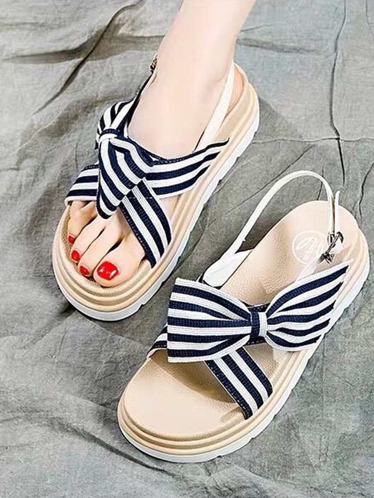 Stripe Bow Slingback Sandals