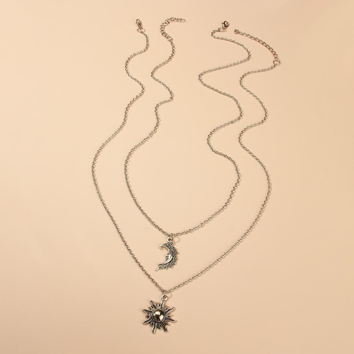 Мужское ожерелье с луной 2шт от SHEIN