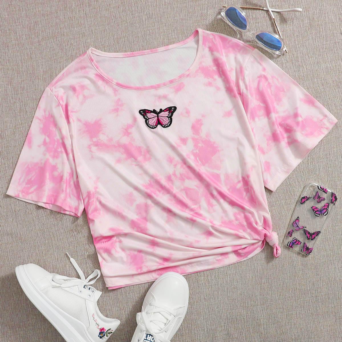 Нежний Розовый с вышивкой Животный принт Повседневный Размер плюс футболка фото