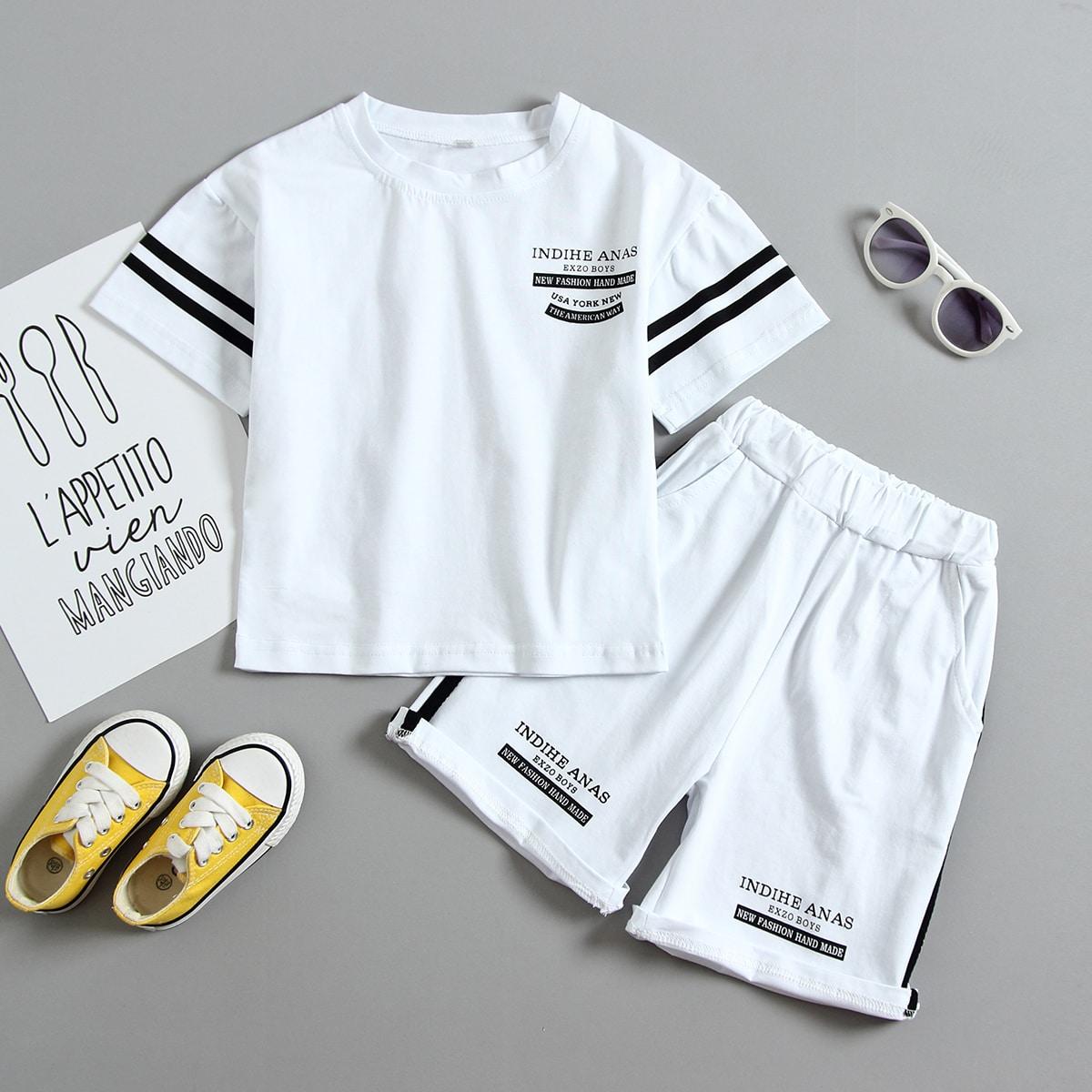 Белый Боковая полоса Полосатые изображения Спортивный Комплекты для мальчиков от SHEIN