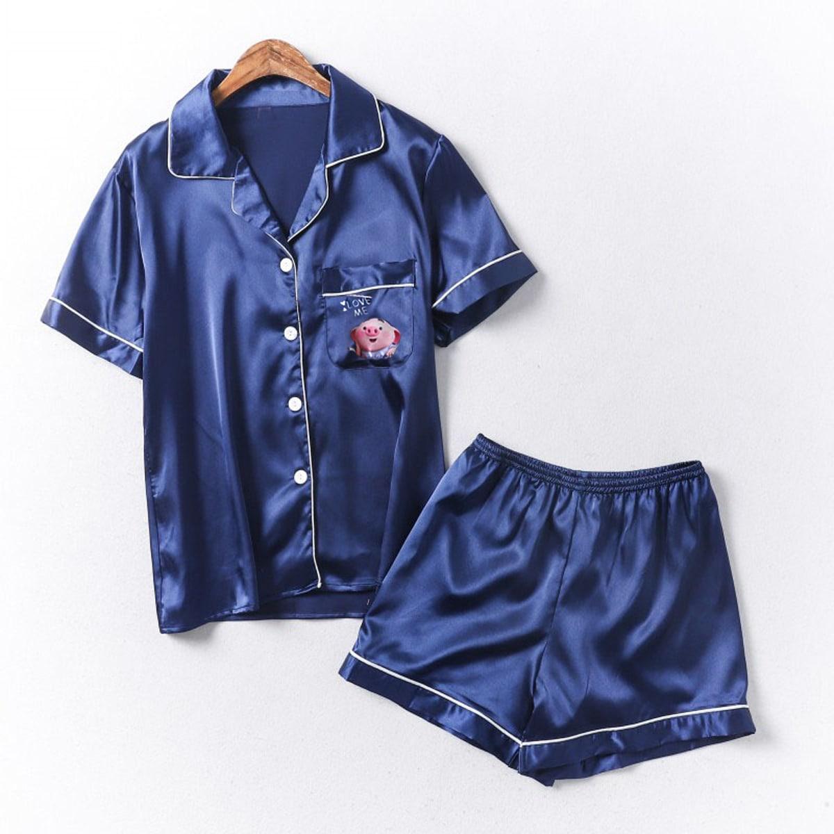 Темно-синий с карманами Мультяшный принт Повседневный Домашняя одежда для мальчиков от SHEIN