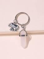 Elephant & Stone Charm Keychain