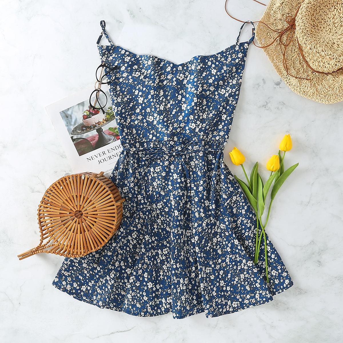 Темно-синий с поясом цветочный Бохо Платья фото