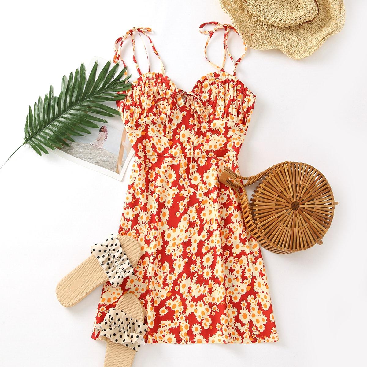 SHEIN / Allover Floral Knot Strap Bustier Cami Dress