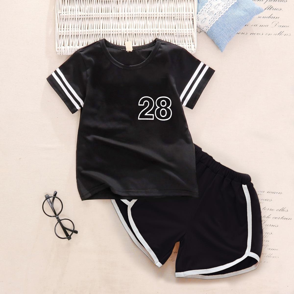 Черный Контрастная отделка Полосатые изображения Спортивный Комплекты для мальчиков от SHEIN