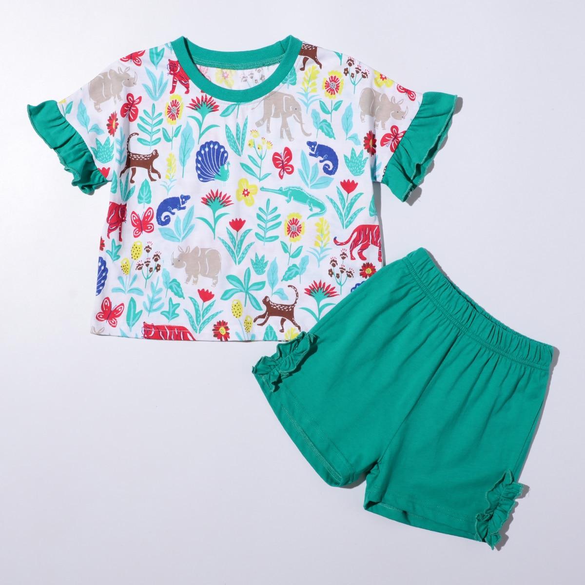 многоцветный с воланами Мультяшный принт милый Домашняя одежда для девочек от SHEIN