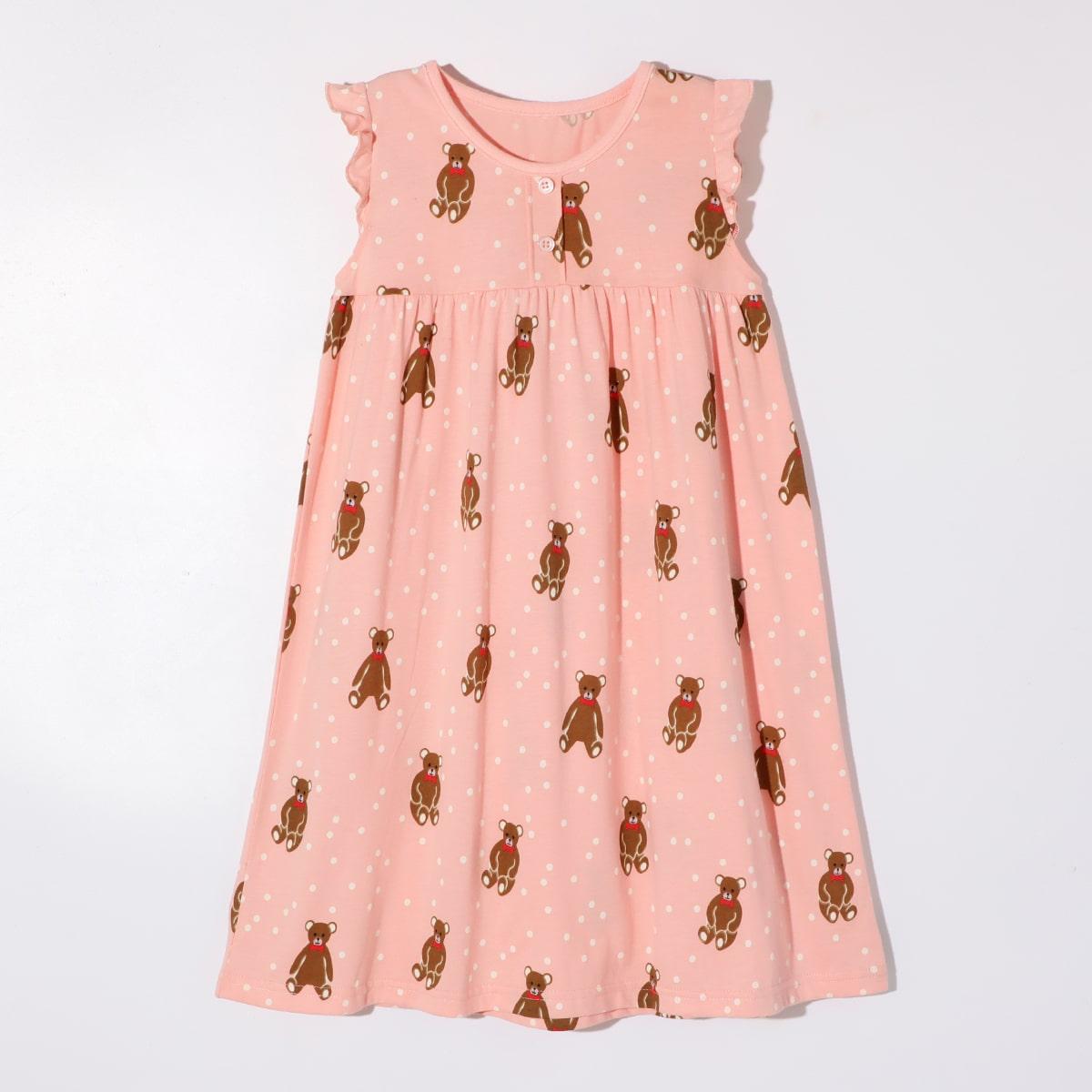 Нежний Розовый на пуговицах В горошек милый Домашняя одежда для девочек от SHEIN