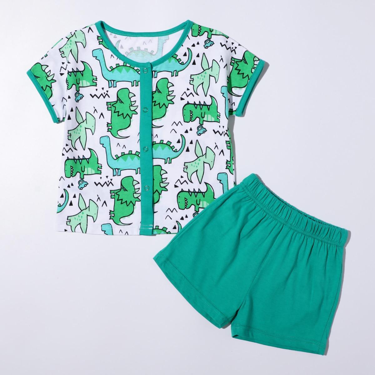 многоцветный Контрастная отделка Мультяшный принт милый Домашняя одежда для мальчиков от SHEIN