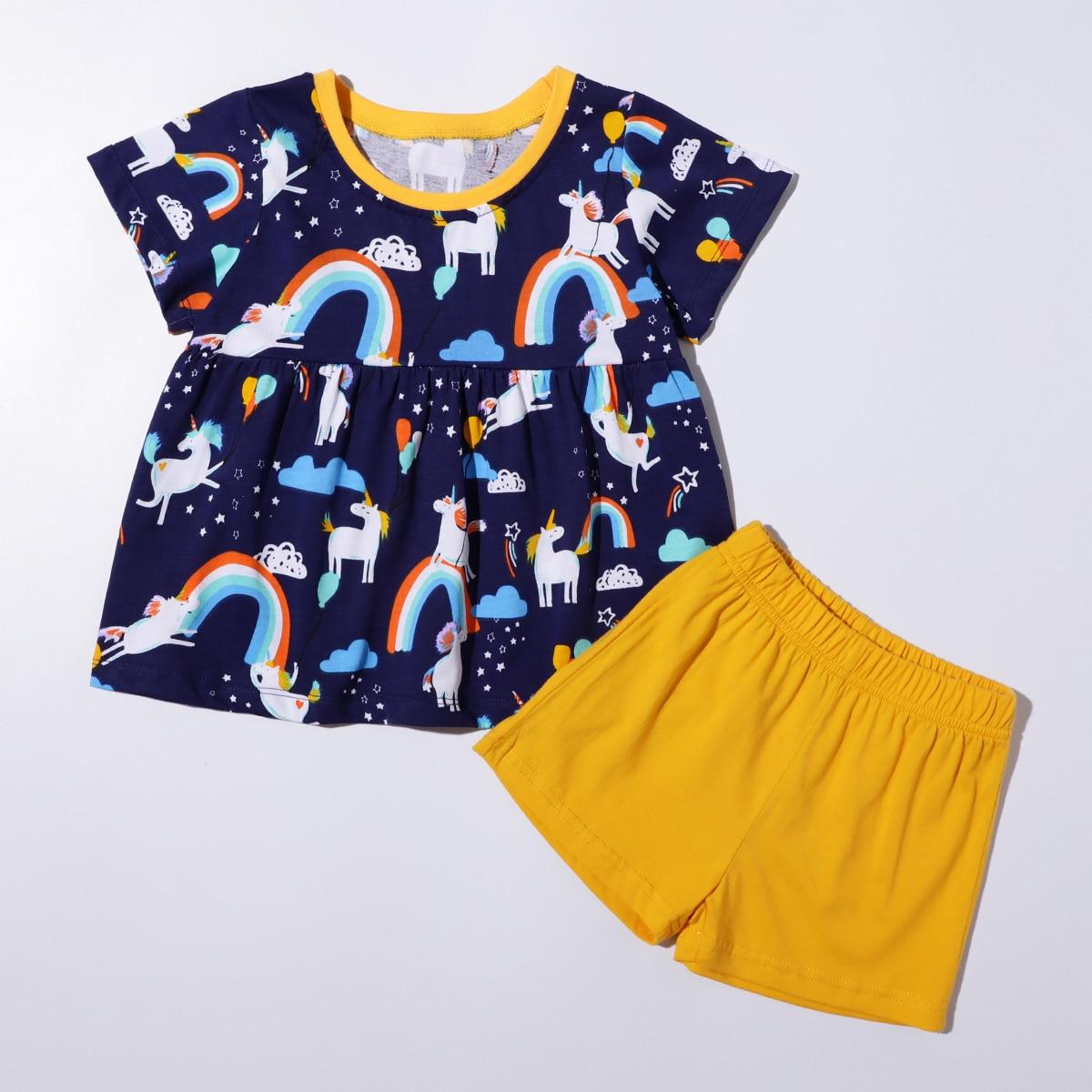 Многоцветный Низ-оборка Мультяшный принт милый Домашняя одежда для девочек фото