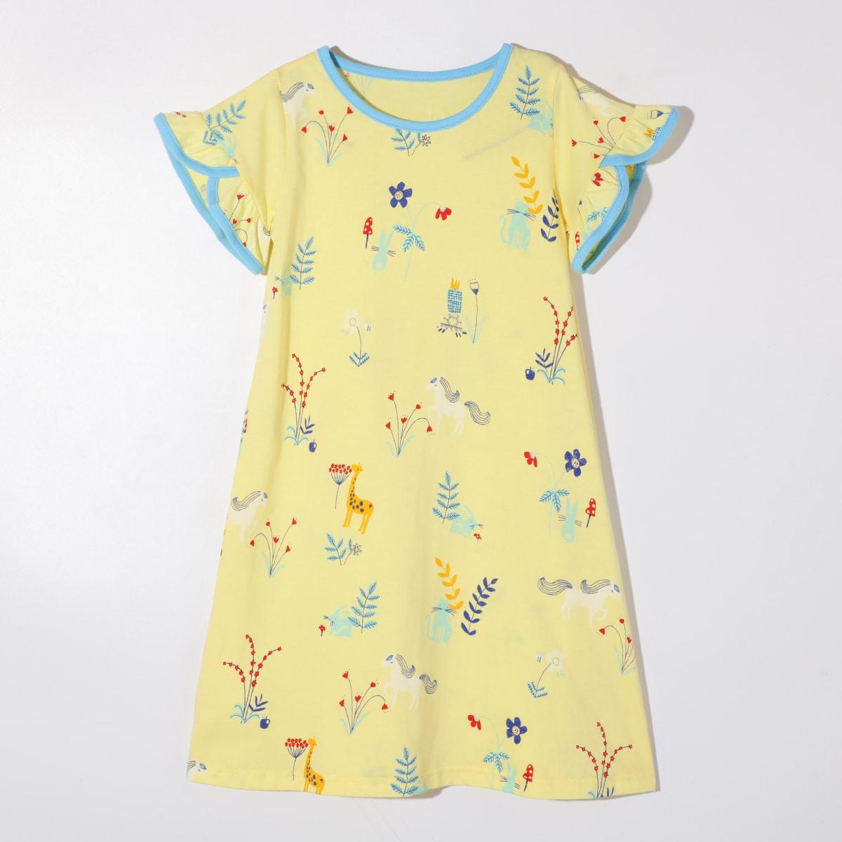 Жёлтые Контрастная отделка Цветочный принт милый Домашняя одежда для девочек от SHEIN