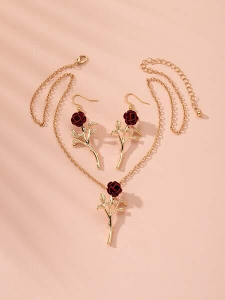 3pcs Rose Decor Jewelry Set