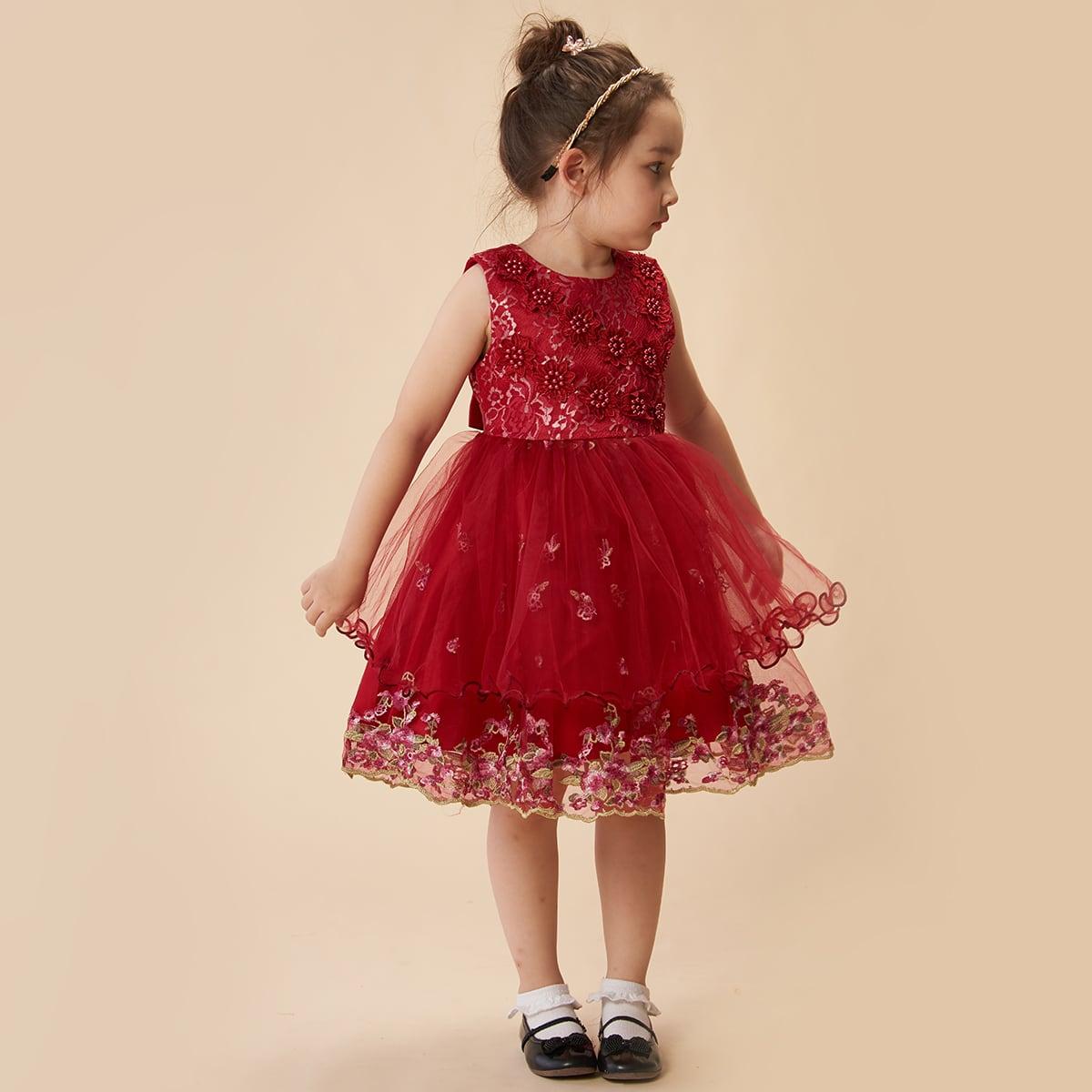 SHEIN / Vestido de fiesta de malla con bordado floral con cuenta