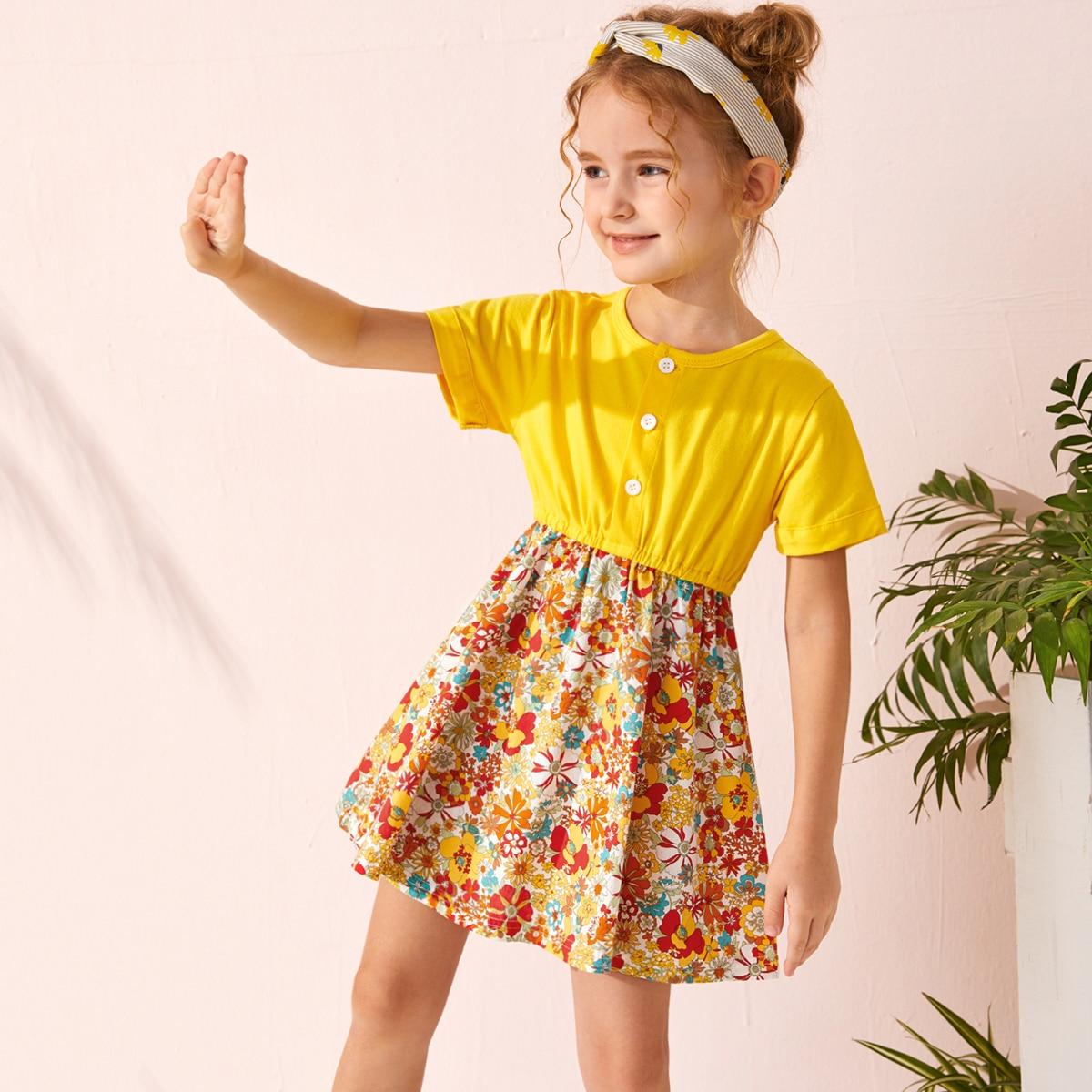 многоцветный Однобортный Цветочный принт Бохо Платья для девочек от SHEIN