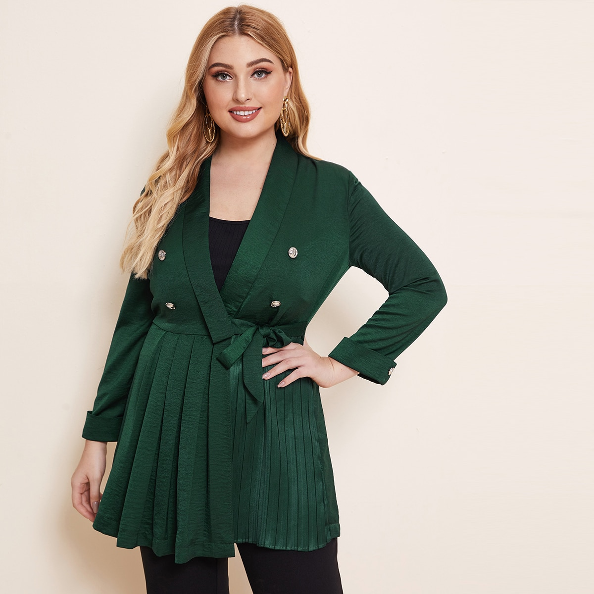 Темно-зеленый Двойная кнопка Одноцветный Элегантный Плюс размеры пальто фото