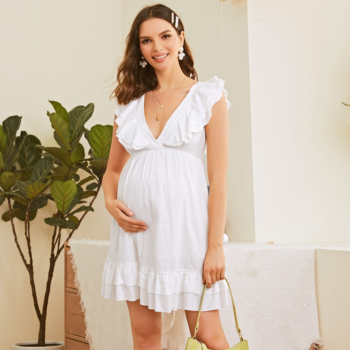 Платье для беременных с многослойными оборками фото