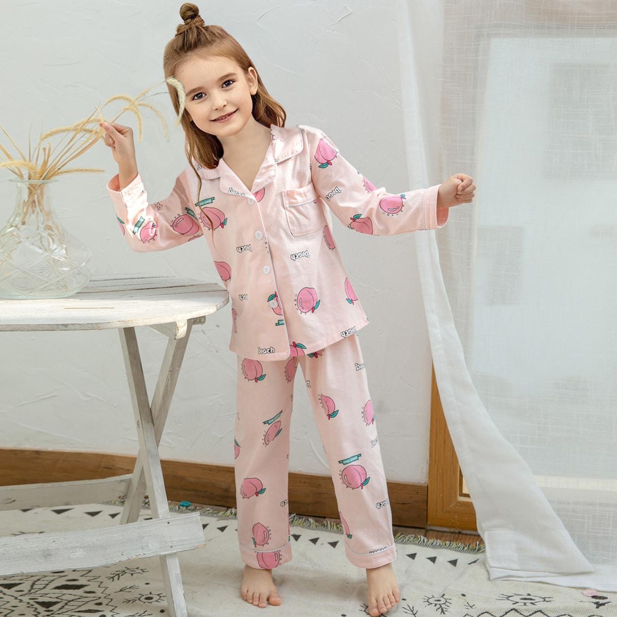 Оранжевый с карманами Текст милый Домашняя одежда для девочек от SHEIN