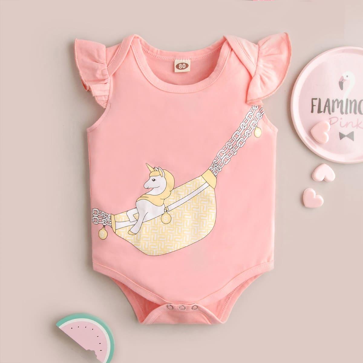 Нежний Розовый с воланами Мультяшный принт милый Боди для малышей от SHEIN