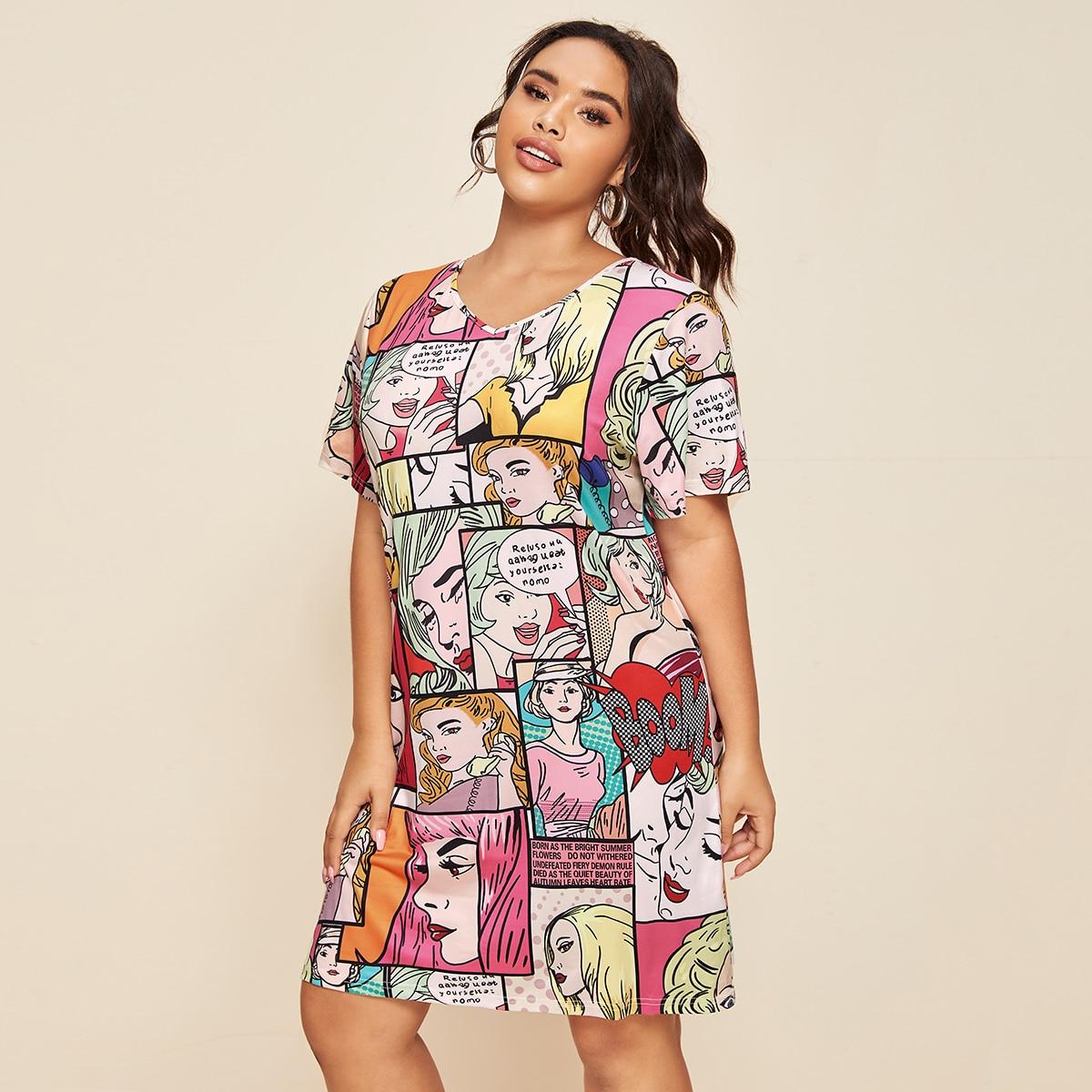 Многихцветные Принт Поп-Арт Повседневный Платья размер плюс фото
