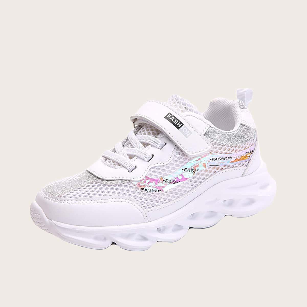 Блестящие сетчатые кроссовки для девочек от SHEIN