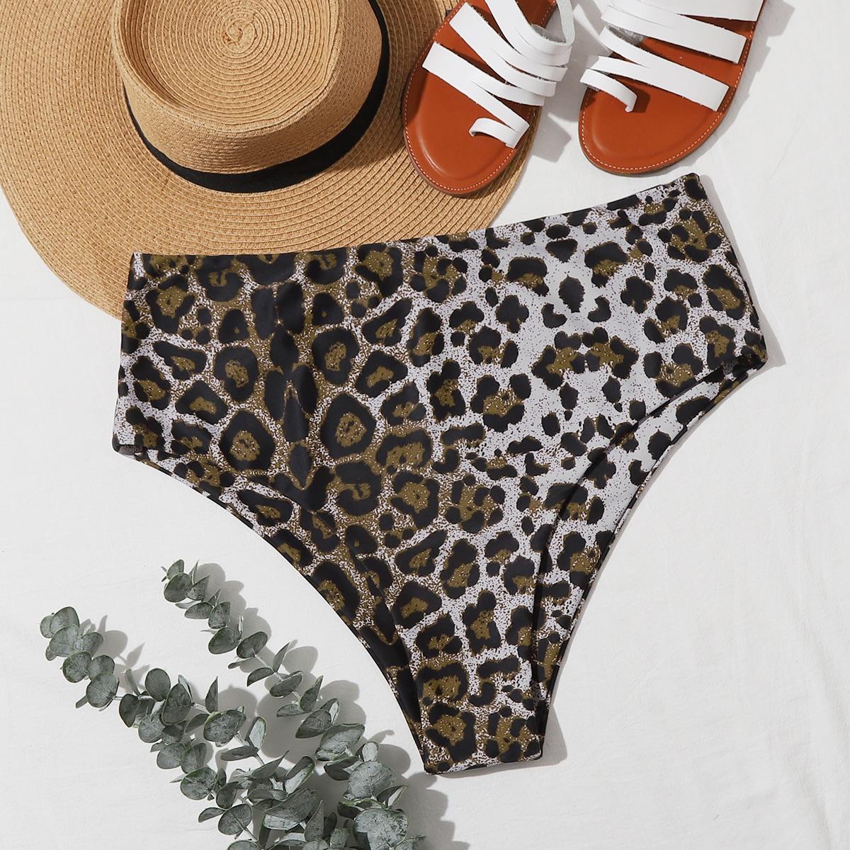 Трусики бикини размера плюс с высокой талией и леопардовым принтом фото