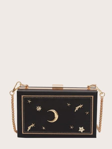 Star & Moon Decor Chain Box Bag