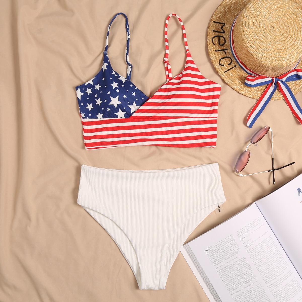 SHEIN / Gerippter Bikini Badeanzug mit ammerikanischer Flagge Muster