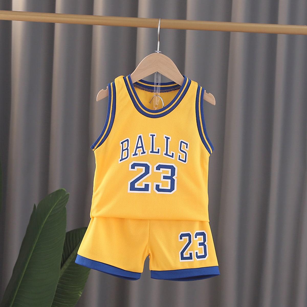 Желтый Контрастная отделка Полосатые изображения Спортивный Комплекты для мальчиков от SHEIN