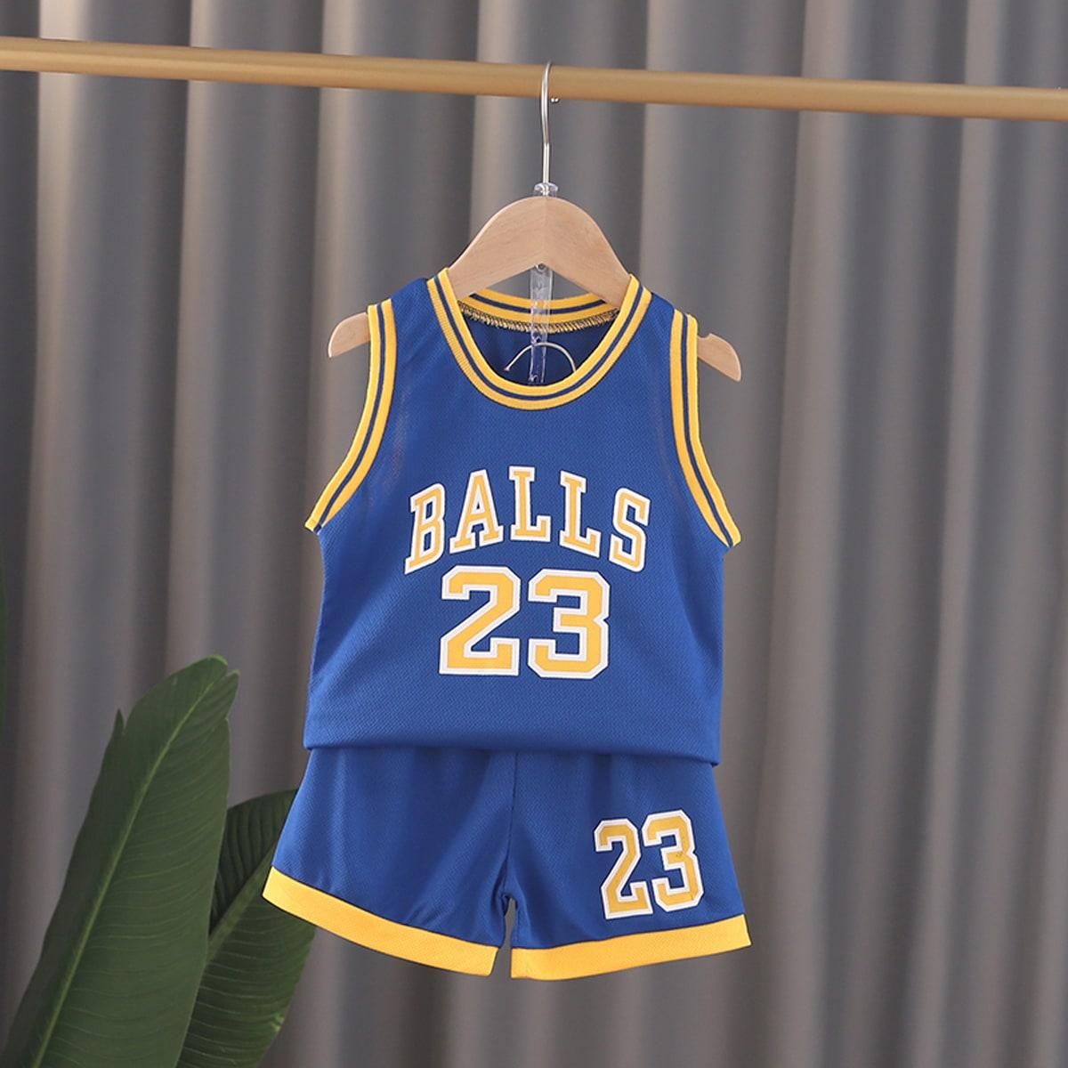 Синий Контрастная отделка Полосатые изображения Спортивный Комплекты для мальчиков от SHEIN