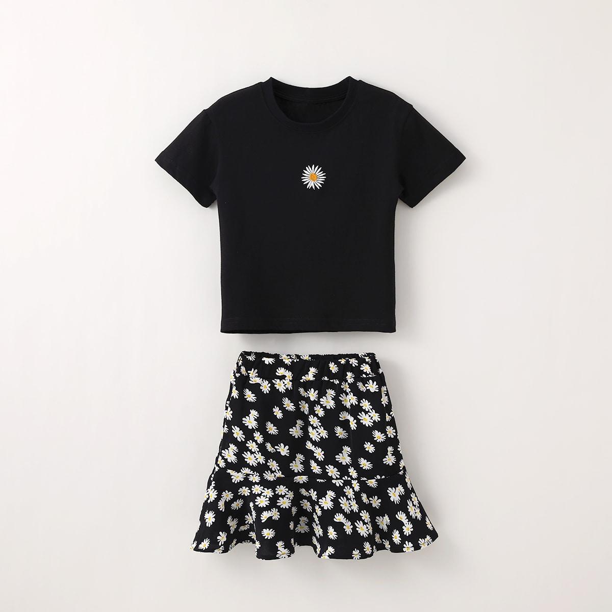 Черный Низ-оборка Со цветочками Бохо Комплекты для девочек фото
