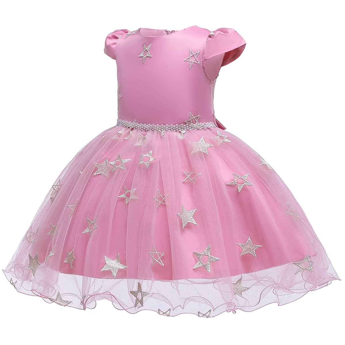 Нежний Розовый с вышивкой Геометрический принт Очаровательный Нарядное платье для маленьких девочек фото