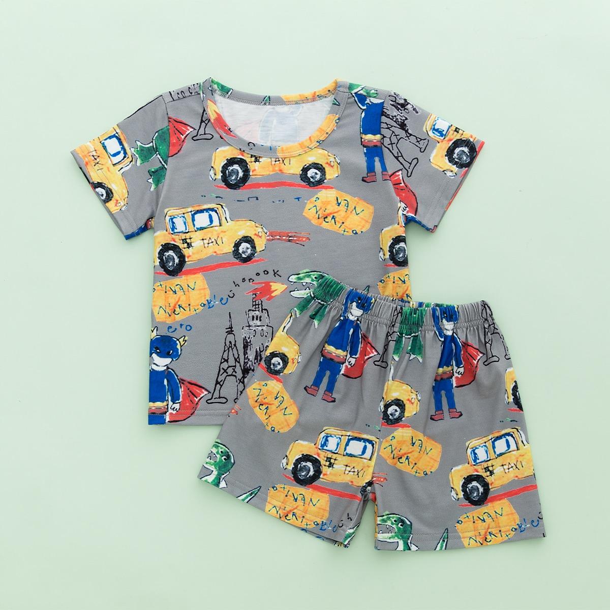 многоцветный Мультяшный принт Повседневный Домашняя одежда для мальчиков от SHEIN