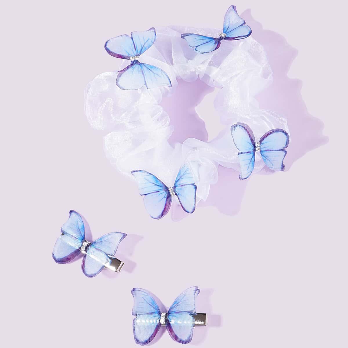 Резинка для волос с бабочкой и зажим для волос 3шт от SHEIN
